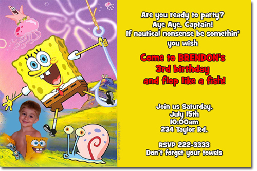 Spongebob Squarepants Pool Party Birthday Invitations Candy