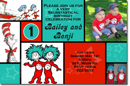 Cat In The Hat Birthday Invitations Thing 1 And Thing 2 Birthday