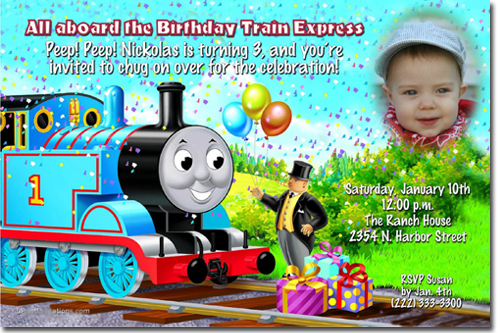 Thomas the Tank Engine Birthday Invitations Candy Wrappers Thank – Thomas the Train Birthday Invites