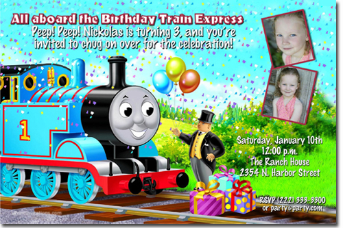 thomas the tank engine birthday invitations, candy wrappers, thank, Party invitations