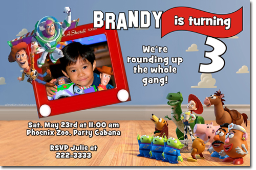 toy story birthday party invitations, candy wrappers, thank you,