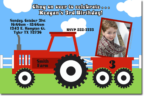 Tractor birthday invitations candy wrappers thank you cards candy click to create this invitation filmwisefo