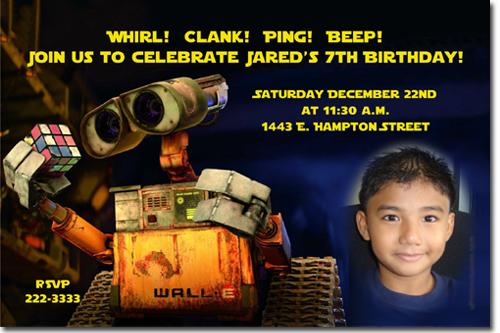 Click To Create This Invitation Walle Wall E BIRTHDAY INVITATIONs