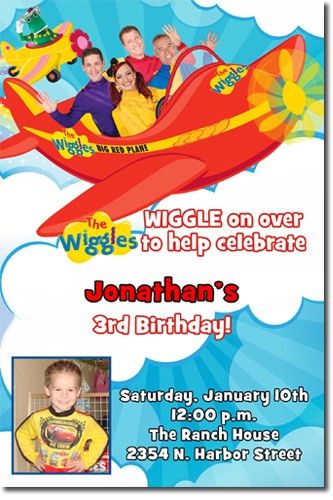 wiggles birthday party invitations  candy wrappers  thank