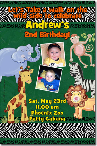 Zoo Safari Birthday Invitations Candy Wrappers Thank You Cards