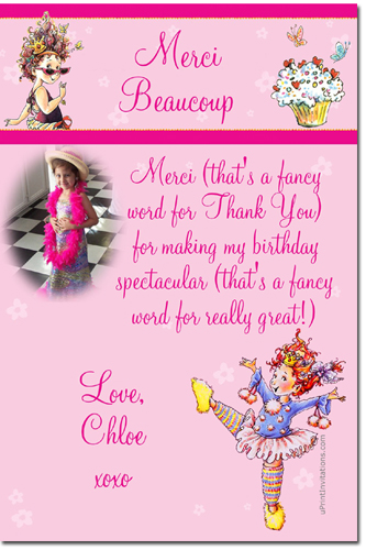 fancy nancy birthday invitations  candy wrappers  thank