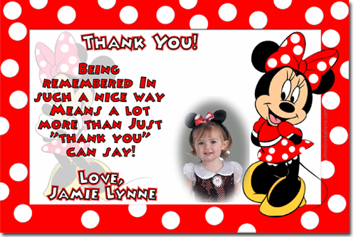 Minnie Mouse Birthday Invitations Candy Wrappers Thank You Cards