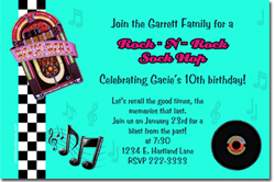 Design online, download jpg immediately DIY 50's sock hop birthday party invitations