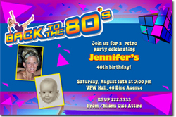 Design online, download jpg immediately DIY 80s retro party birthday invitations