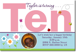 Design online, download jpg immediately DIY 10th digital birthday party Invitations