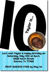 Design Online Download Jpg Immediately DIY 10th Birthday Party Invitations