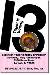 Design online, download jpg immediately DIY 13th birthday party Invitations