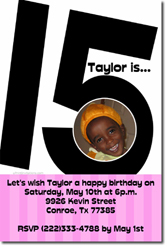 Design online, download jpg immediately DIY 15th birthday party Invitations