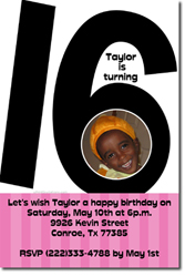 Design online, download jpg immediately DIY 16th birthday party Invitations