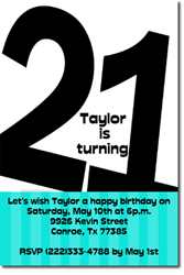 Design online, download jpg immediately DIY 21st birthday party invitations