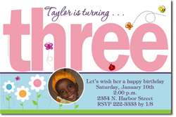 Design online, download jpg immediately DIY 3rd digital birthday party Invitations