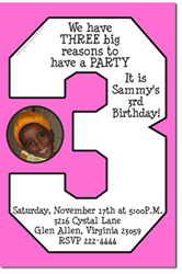 Design online, download jpg immediately DIY 3rd birthday party Invitations