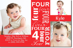 Design online, download jpg immediately DIY 4th birthday party Invitations