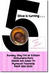 Design online, download jpg immediately DIY 5th birthday party Invitations