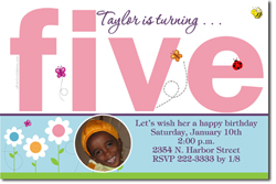 Design online, download jpg immediately DIY 5th digital birthday party Invitations