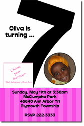 Design online, download jpg immediately DIY 7th birthday party Invitations