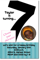 Design online, download jpg immediately DIY 7th birthday Invitations