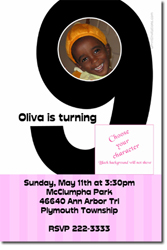 Design online, download jpg immediately DIY 9th birthday party Invitations