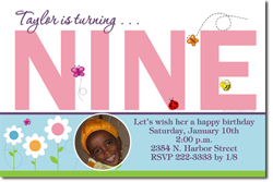 Design online, download jpg immediately DIY 9th digital birthday party Invitations