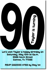Design online, download jpg immediately DIY 90th birthday party invitations