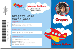 Design online, download jpg immediately DIY airplane boarding pass birthday Invitations