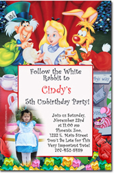Design online, download jpg immediately DIY alice in wonderland party birthday Invitations