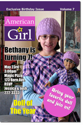 Design online, download jpg immediately DIY american doll magazine birthday Invitations