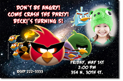 Design online, download jpg immediately DIY angry birds party birthday Invitations