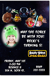 Design online, download jpg immediately DIY angry birds star wars party birthday Invitations