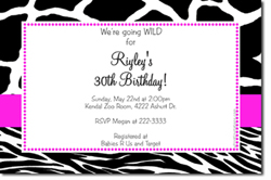 Design online, download jpg immediately DIY animal prints birthday Invitations