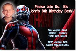 Design online, download jpg immediately DIY ant-man birthday Invitations