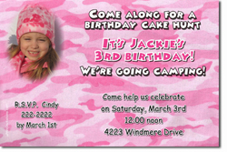 Design online, download jpg immediately DIY pink camo party birthday Invitations