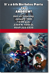 Design online, download jpg immediately DIY avengers age of ultron birthday Invitations