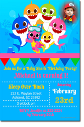 Design online, download jpg immediately DIY baby shark birthday Invitations