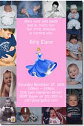 Design online, download jpg immediately DIY princess cinderella photo birthday party Invitations