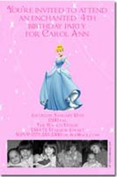 Design online, download jpg immediately DIY cinderella photo birthday party Invitations
