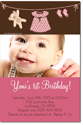 Design online, download jpg immediately DIY clothes line birthday Invitations