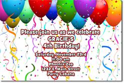 Design online, download jpg immediately DIY balloon birthday Invitations