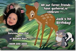 Design online, download jpg immediately DIY bambi party birthday Invitations
