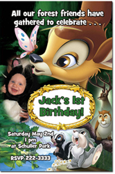Design online, download jpg immediately DIY bambi birthday Invitations