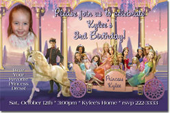 Design online, download jpg immediately DIY barbie 12 dancing princesses party birthday Invitations