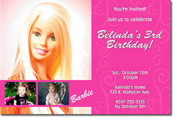 Design online, download jpg immediately DIY barbie party birthday Invitations