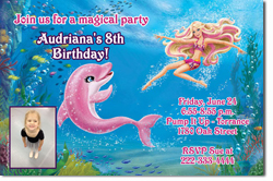 Design online, download jpg immediately DIY barbie mermaid party birthday Invitations
