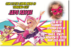 Design online, download jpg immediately DIY barbie princess and the popstar party birthday Invitations