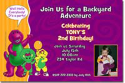Design online, download jpg immediately DIY barney party birthday Invitations